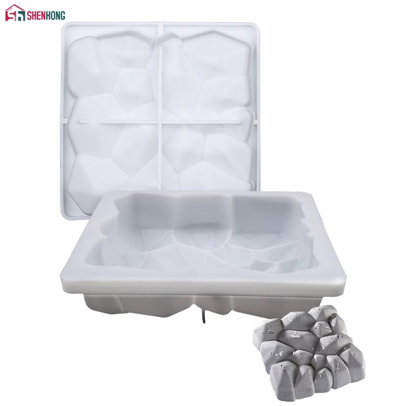 Molde cuadrado SHENHONG de silicona para hornear Mousse de Chocolate de piedra volcánica, moldes de esponja, herramientas de decoración de pasteles
