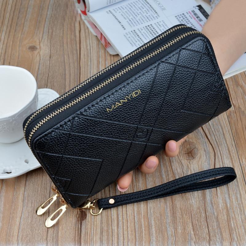 Phone Purses Women Wallets Big Female Purse Leather Brand Retro Ladies Long Woman Wallets Card Clutch Double Zipper LSH514