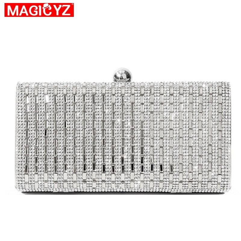 MAGICYZ-حقائب سهرة نسائية ، أسود/فضي ، أحجار الراين الكريستالية ، حقائب يد ذهبية