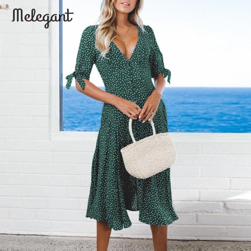 Melegant Vintage fiesta té vestido arco volantes verde Vestidos Mujer invierno botón medio vestido femenino Vestidos