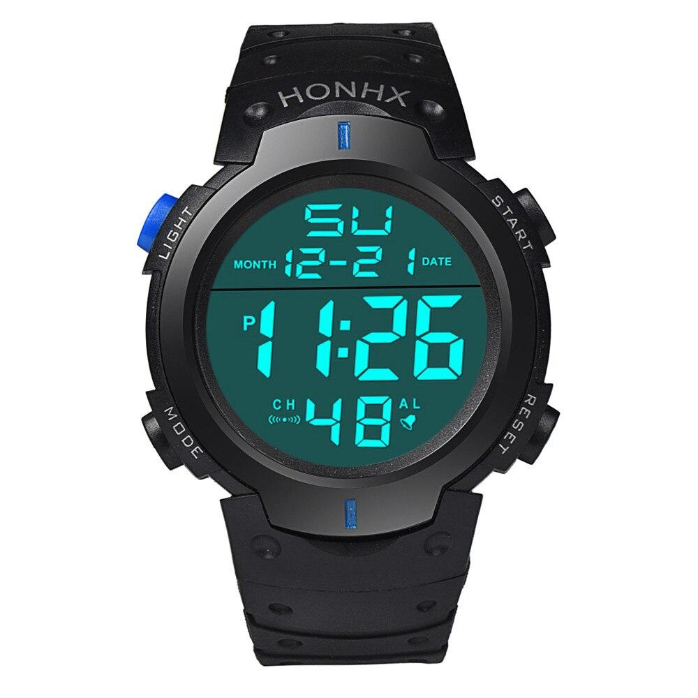 HONHX Fashion Luxury Brand Waterproof Men's Watch Boy LCD Digital Stopwatch Date Rubber Sport Mens Clock Wrist Watches saat