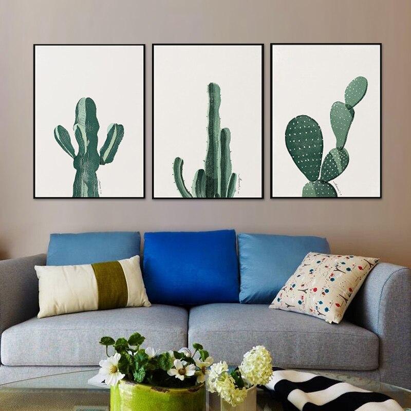 Pintura de Cactus para pared, arte moderno abstracto de Cactus, lienzo, impresiones coloridas de Cereus, carteles, arte de tela de tinta para decoración de hogar