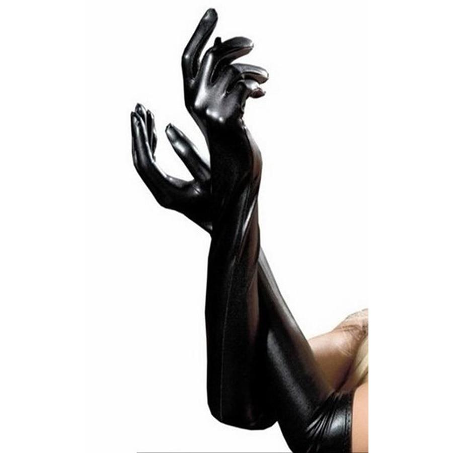 Sexy Frauen Shiny Lange Voll Fingered Handschuhe, Latex Leder Wet Look Latex Party Oper Kostüm, Erwachsene Sex Spielzeug