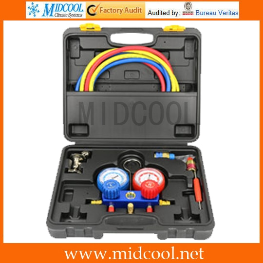 practical r134a to r12 r22 refrigerant recharge hose pipe Auto Air Conditioning Refrigerant Manifold Gauge Set Diagnostic Tool R12,R22, R404a, R134a