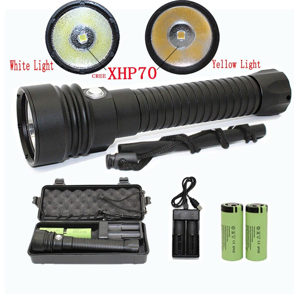 XHP70 LED الغوص مصباح يدوي إضاءة مقاومة للمياه الشعلة الأبيض الأصفر ضوء هانت الفانوس + 26650 بطارية + شاحن