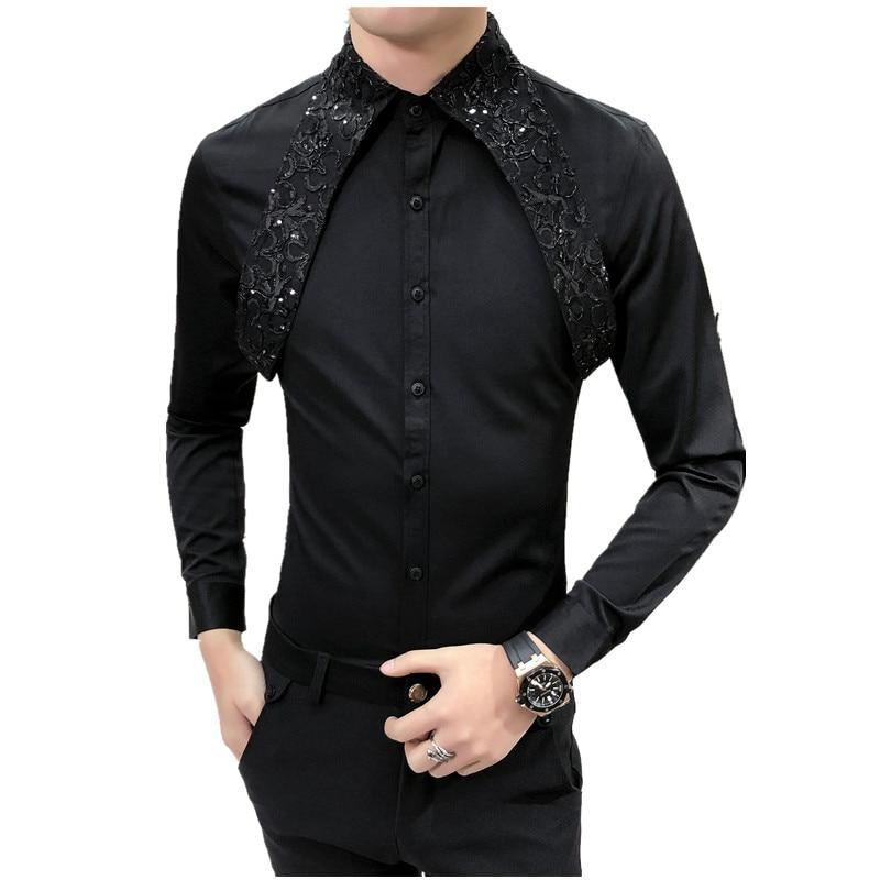 Camisa de vestir Social Camisa de encaje diseño Slim Fit Camisa Medusa hombres moda Camisas de manga larga Hombre Camisas Hombre blanco negro blusa