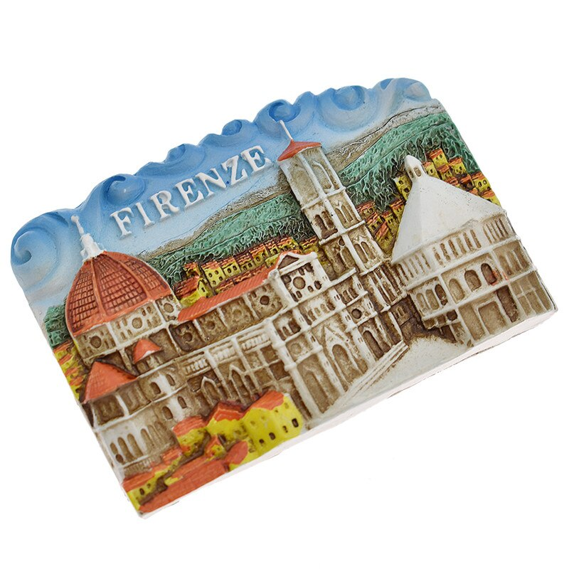 Imanes de nevera con vista turística famosa de Florencia, imanes de nevera de resina, colección de decoración hogareña cocina moderna