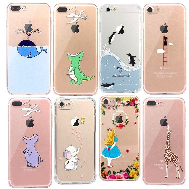 Funda de silicona suave para iphone Se con animales lindos cocodrilo Panda pingüino para IPhone 7 6 6S 8 Plus 5S 5 Capa transparente