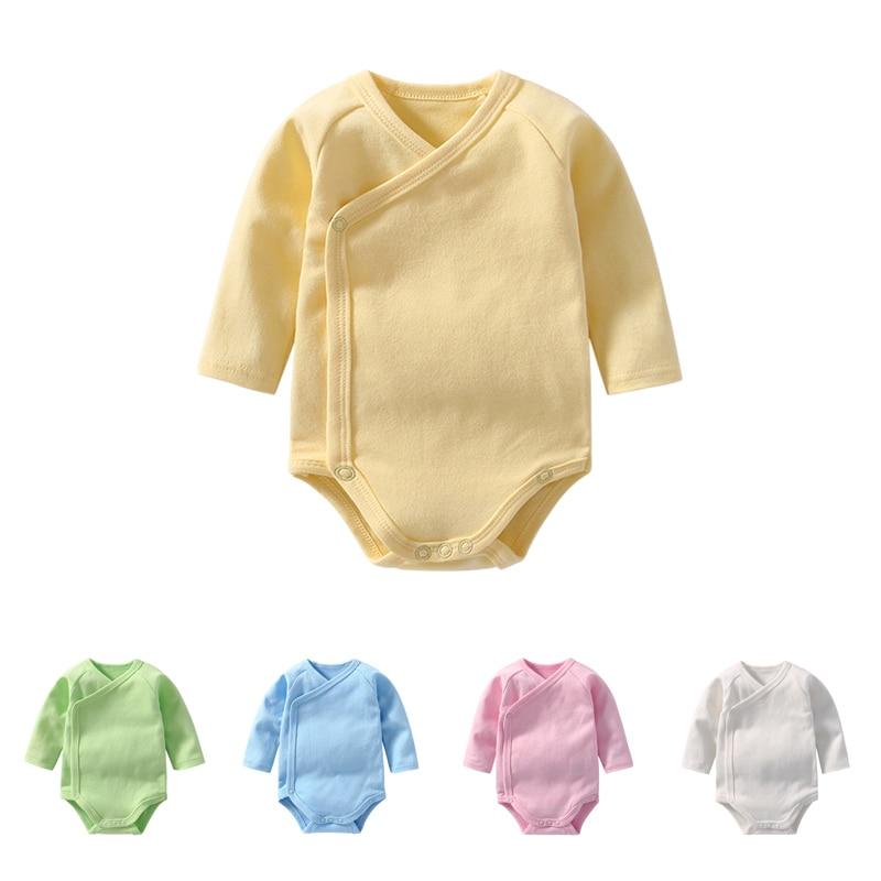 Mono pelele triangular de algodón para recién nacidos, bebés, niñas, manga larga, doble capa, monos para alpinismo, traje N6