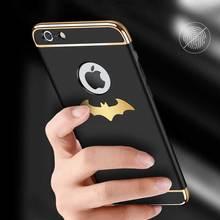 Luxe Batman Téléphone étui pour iPhone 6 6 s 7 Plus Coque 3-en-1 Placage Gommage Protecteur Coque Arrière Rigide Pour iPhone 7/7plus