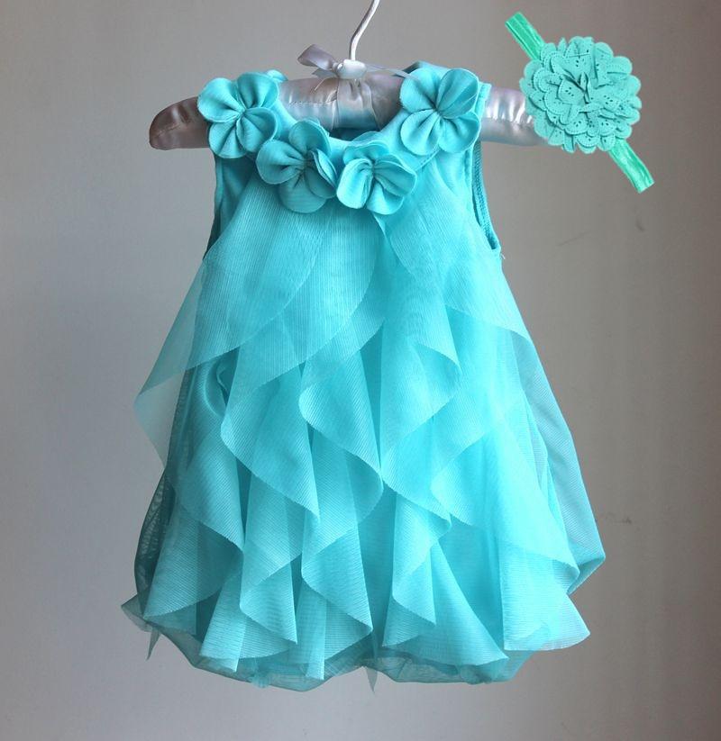 Girls dress 2017 verano partido de la gasa dress infantil cumpleaños 1 años dress ropa de bebé niña vestidos y vestidos de la venda