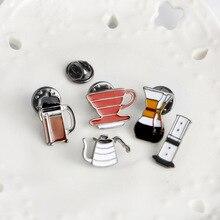 Amerykańska kawa ręcznie warzenia Pot/filharmonia ciśnienie/Chemex filtr do filiżanki broszka worek na koszulę Cap kurtka przypinka Fashion Gift