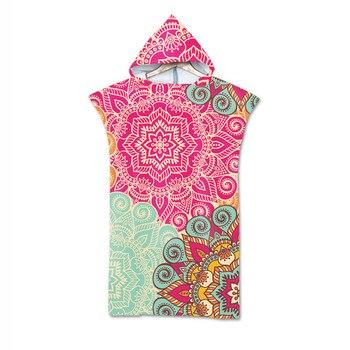 Микрофибра с капюшоном банное полотенце-накидка для взрослых женский халат богемные печатные пляжные полотенца для серфинга пончо Пляжная одежда toalla