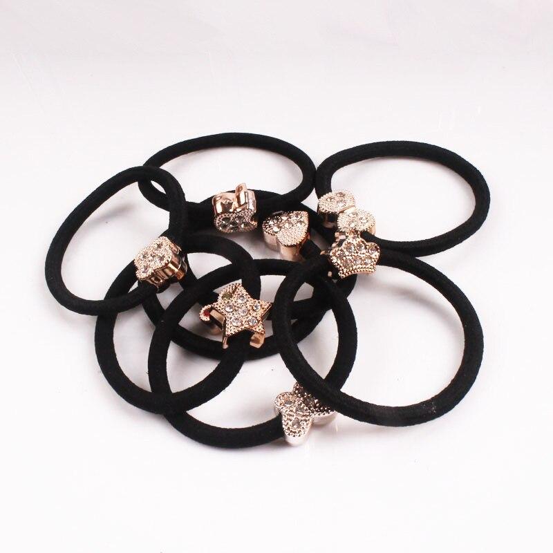 Black 10pcs/Bag Yiwu drill string tie popular hair rope full diamond wholesale hair headdress