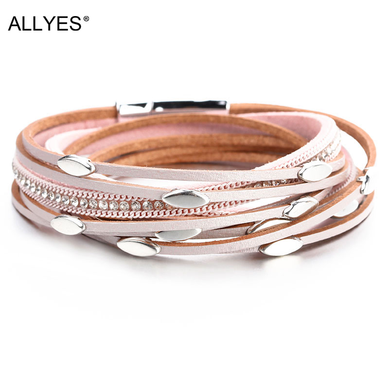 ALLYES Leaf Charm Pink Leather Bracelets for Women 2020 Fashion Crystal Chain Boho Multilayer Wrap Bracelet Femme Jewelry allyes tree of life charm pearl leather bracelets for women fashion ladies bohemian multilayer wide wrap bracelet female jewelry
