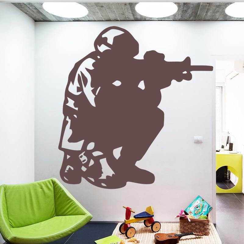 Soldado hombre pistola militar pegatina para pared con patrón para sala de estar removible de decoración de habitación pegatinas de pared impermeables accesorios de dormitorio