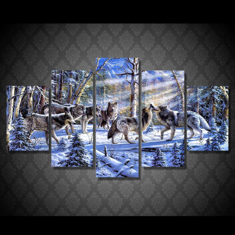 Cuadro de lienzo, cuadros de decoración de pared moderna, cuadros modulares, pintura al óleo de paisaje, 5 paneles de animales, lobos, PENGDA