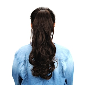 """18""""Synthetic Long Curly Ponytail Wigs Claw Clip In Human Hair Extensions Drawstring Ponytail Natural Hair Ponytail Heat Resistan"""