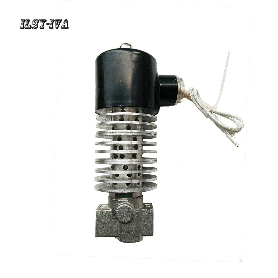"""G1/2 """"DN15 AC220V parafuso de aço inoxidável válvula solenóide de vapor de óleo de transferência de calor"""
