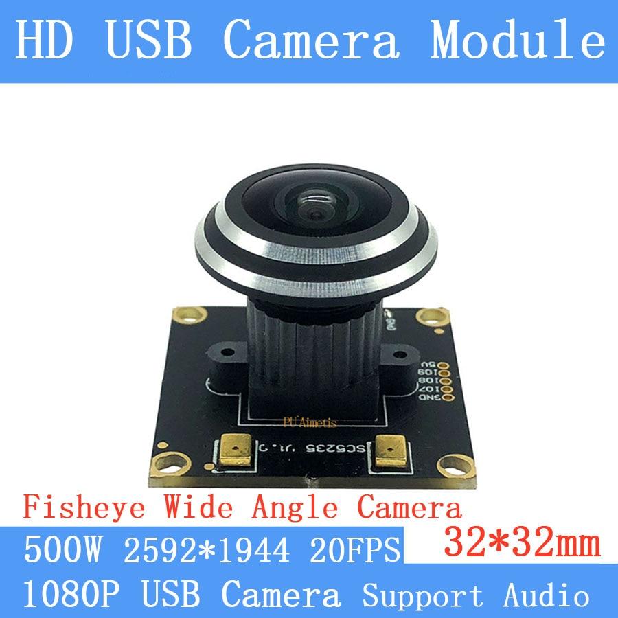 Starlight Fisheye vigilancia MJPEG 30FPS 2MP/20FPS 5MP alta velocidad UVC OTG 1080P Módulo de cámara USB para Android linux Windows