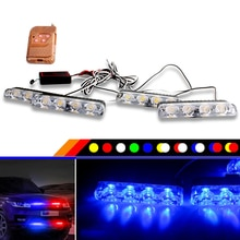 4 Pcs 16 LEDs Red&blue Flashing 12V Car Truck Emergency Flasher Dash Strobe Warning Light Day Running Flash Led Police Lights
