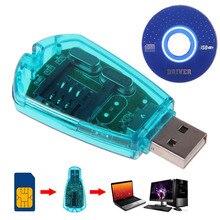 Offre spéciale! Lecteur de carte SIM USB bleu copie/Cloner/graveur/Kit de sauvegarde lecteur de carte SIM GSM CDMA SMS sauvegarde + disque CD