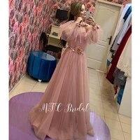 dusty pink long sleeve arabic evening dress 2019 graceful flowers tulle a line long formal prom gowns vestido de festa cheap