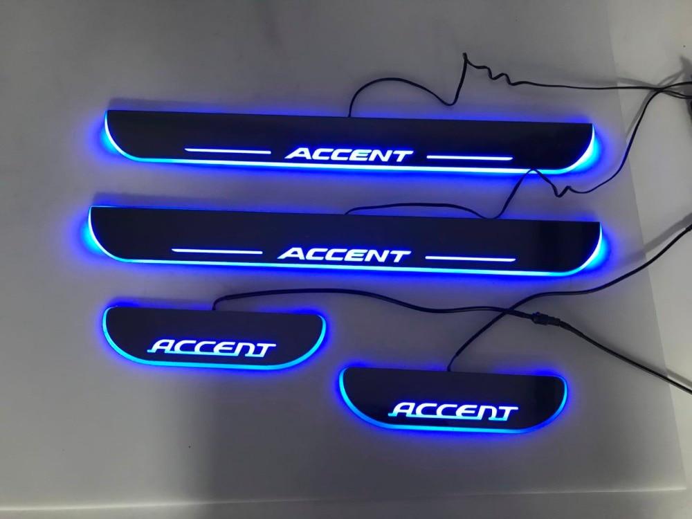 WOOBEST, impermeable, acrílico ultra delgado, umbral de puerta LED para Hyundai accent, placa de desgaste de puerta móvil Led, luz de camino, 2 uds