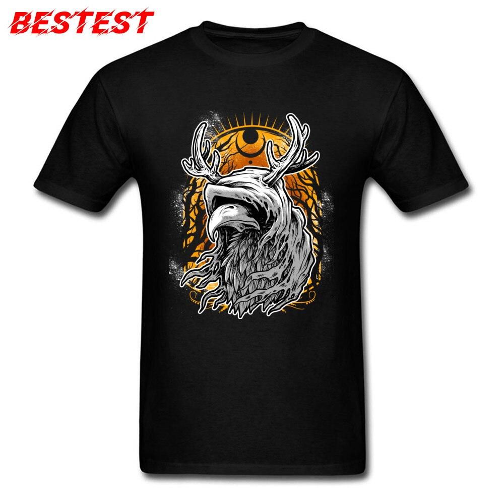 Camisetas y camisetas Heresy negras para hombre, camiseta de fiesta para adultos, Otoño, camiseta Vintage con estampado de cuervo y ciervo, ropa de algodón de los años 80