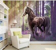 Papel pintado de caballo personalizado 3D, murales de caballo bosque para la sala de estar TV Fondo pared tela impermeable papel de parede