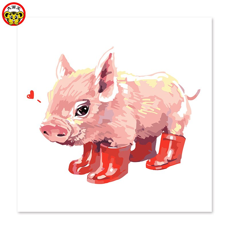 Pintura por números pintura de arte por número porco vestindo botas de chuva vermelha desenhar sobre tela pintura digital pinturas famosas abstracto pai