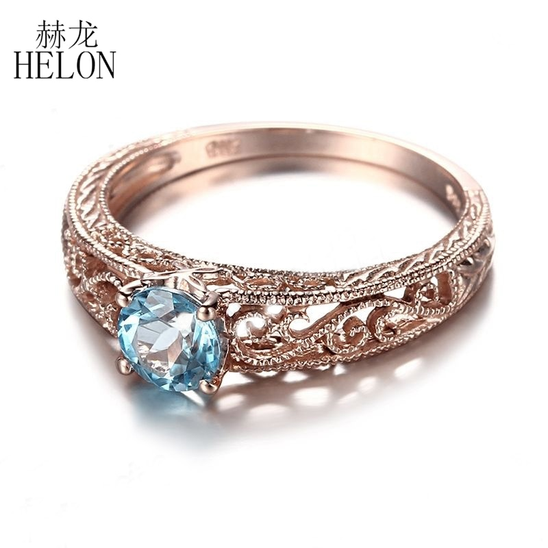 Helon 925 prata esterlina 5mm corte redondo azul topázio anel filigrana vintage arte deco pedra preciosa noivado anel de casamento jóias finas