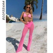 BOOFEENAA przepuszczalność różowy Mesh wysokiej talii spodnie szerokie nogawki spodnie Flare kobiety Sexy plaża Rave spodnie i spódnice lato 2019 spodnie typu casual C34G83