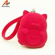Силиконовый винтажный кошелек для ключей с котом Fortune, из натуральной кожи, сумка для ключей, держатель для ключей, органайзер для ключей