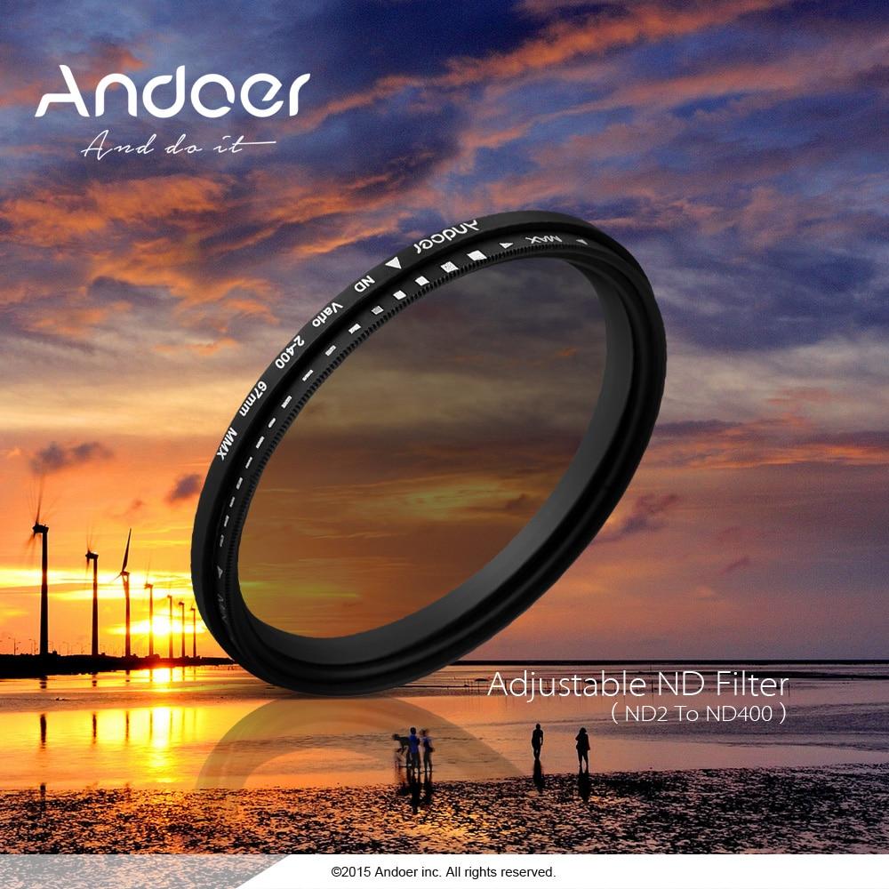 Andoer 52-82mm ND Fader densidad Neutral ajustable ND2 a ND400 filtro Variable fotografía para cámara Canon Nikon DSLR