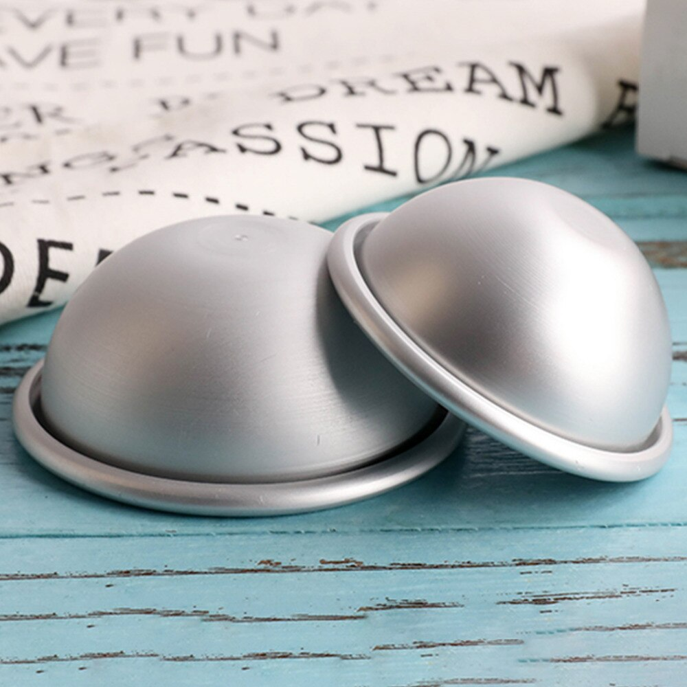 Mini liga de alumínio rasa semicírculo banho bomba sal bola molde metal 3d forma esfera diy spa ferramenta acessórios 1 pc 5.5*2.5cm