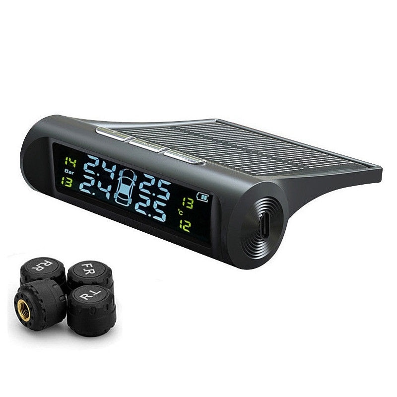 Universal sem fio de energia solar do carro tpms monitor pressão sistema alarme display lcd sensores externos pneu