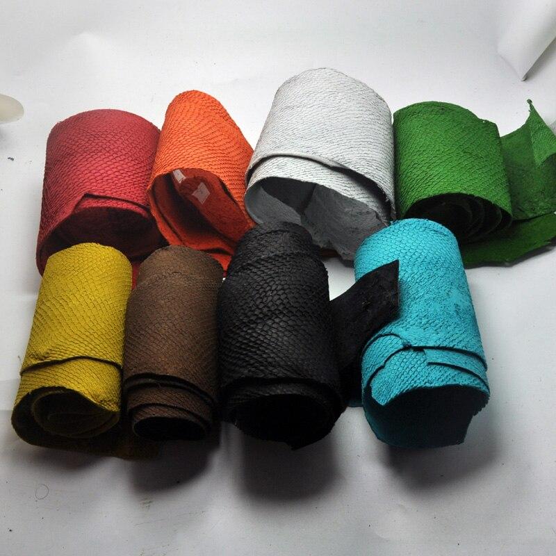 45x10 centímetros Colorido Genuíno couro de pele de peixe Salmão peça multi cor DIY bag belt shoes acessórios