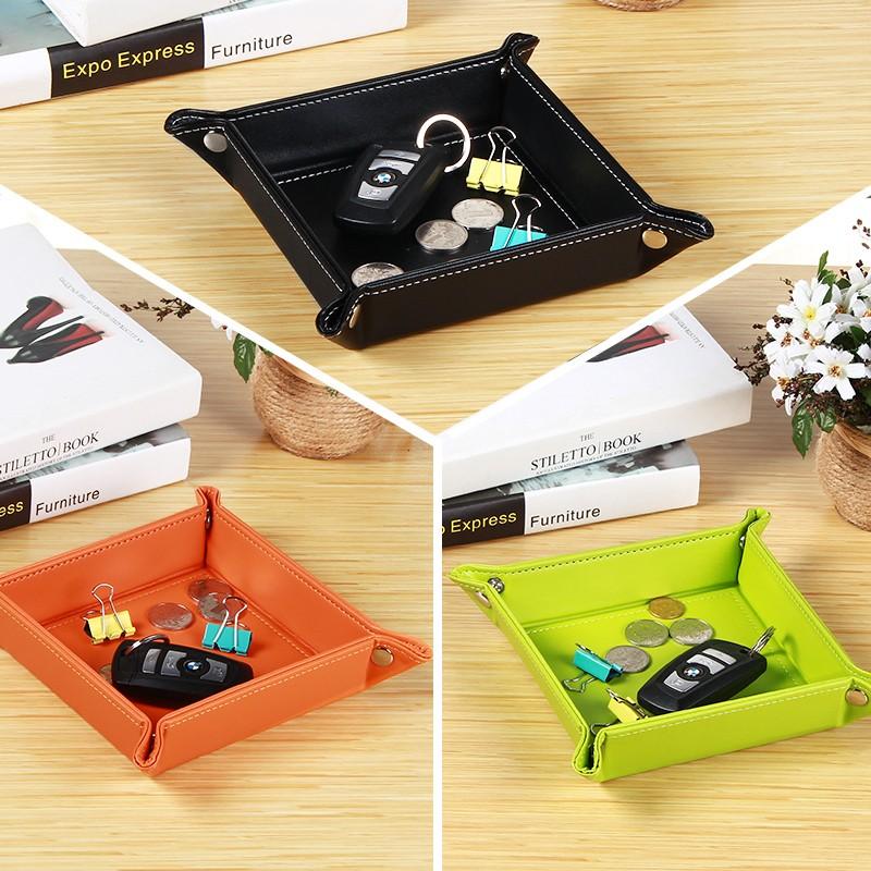 Bandeja de cuero PU para cambiar la moneda, joyero de escritorio, Caja de almacenaje para maquillaje, Valet, bandeja plegable para bolígrafo, cartera, organizador de CD