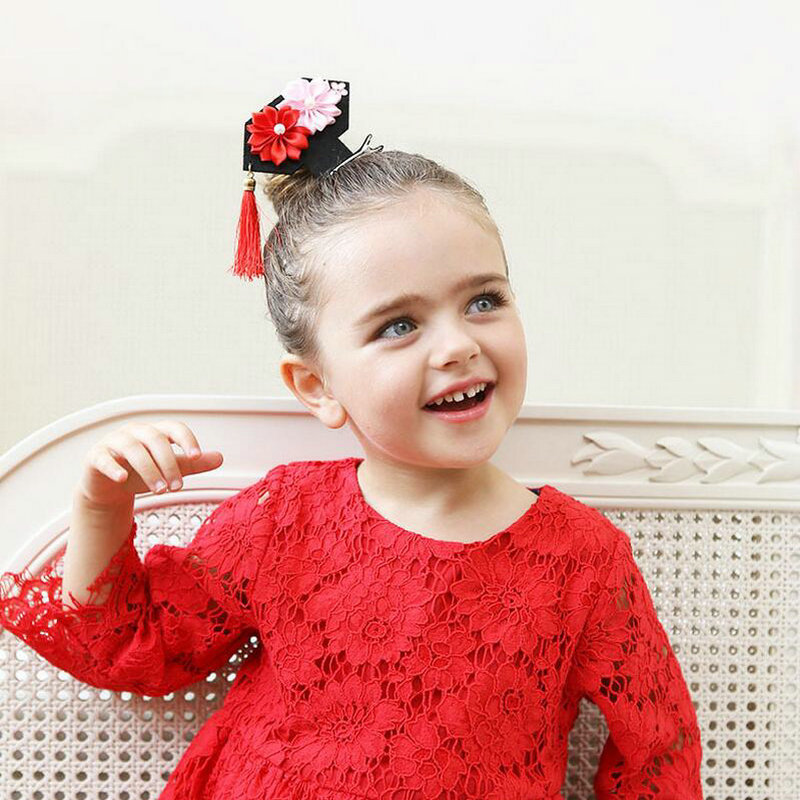 Chinese TV Qing Dynasty Hair accessories kids barrette Pearl Princess hair clips girls Mini Tassel Flower Hairpins