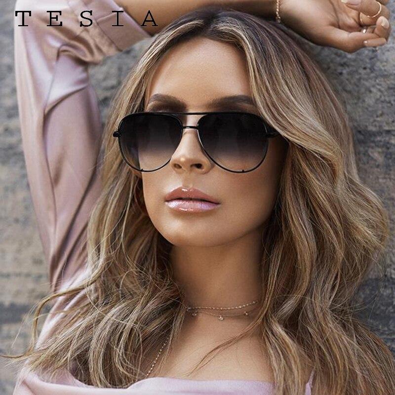 Gafas de sol clásicas de piloto para mujer, gafas de diseñador de marca de lujo, espejo elegante, gafas de sol de aviación, montura metálica, gafas de Aviador