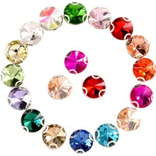 4 größen 27 Farben Runde Rivoli Nähen Auf Strass Mit D Klaue Flatback Nähen Auf Einstellung Glas Steine für DIY kleidung B1195