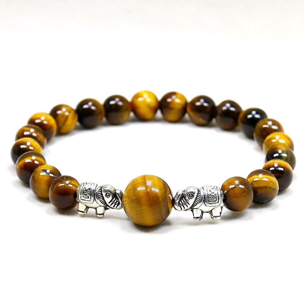 Elephant Plated Bracelets Men 8mm Natural Tiger Eye Stone Beads Bracelet Handmade Stretch Beaded Bracelets for Me
