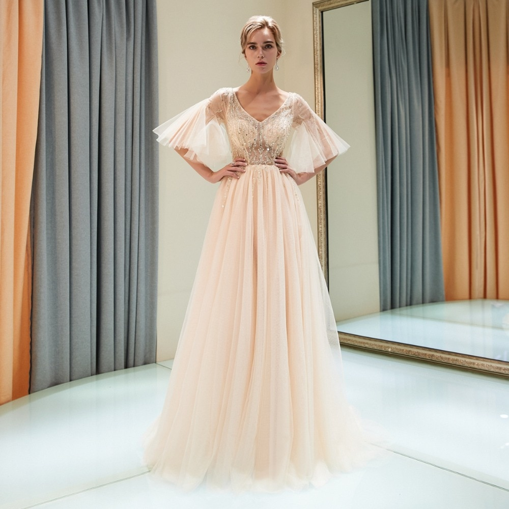 Купить с кэшбэком Gray Crystal Prom Dresses Beading Bodice Short Sleeves Walk Beside You Illusion Tulle A-line Vestidos Bestidos De Fiesta Largos