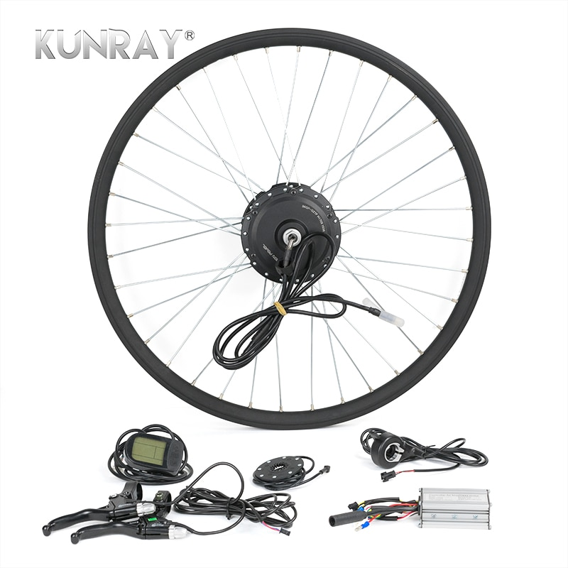 """אופניים חשמליים המרת ערכת G27F 36V 350W מנוע רכזת 16 """"20"""" 24 """"26"""" 28 """"Bicicleta E אופני גלגל קדמי מנועים עם LCD 5"""