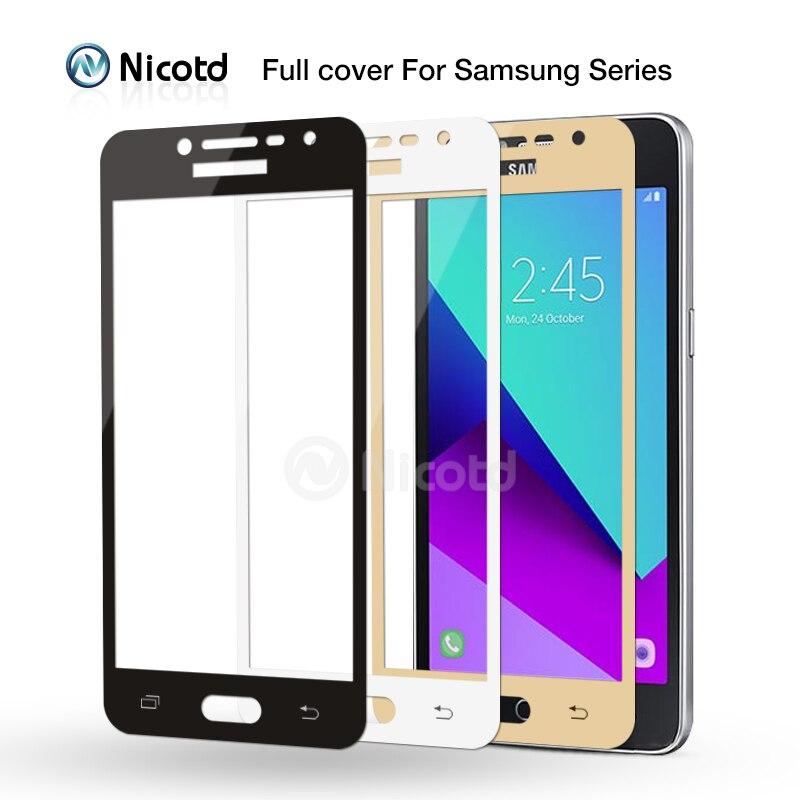 Vidrio templado de cobertura completa Nicotd para Samsung A3, A5, A7, 2016, J2, J5, J7 Prime, S7, S6, película protectora de pantalla para Galaxy A5, A3, A7, 2017