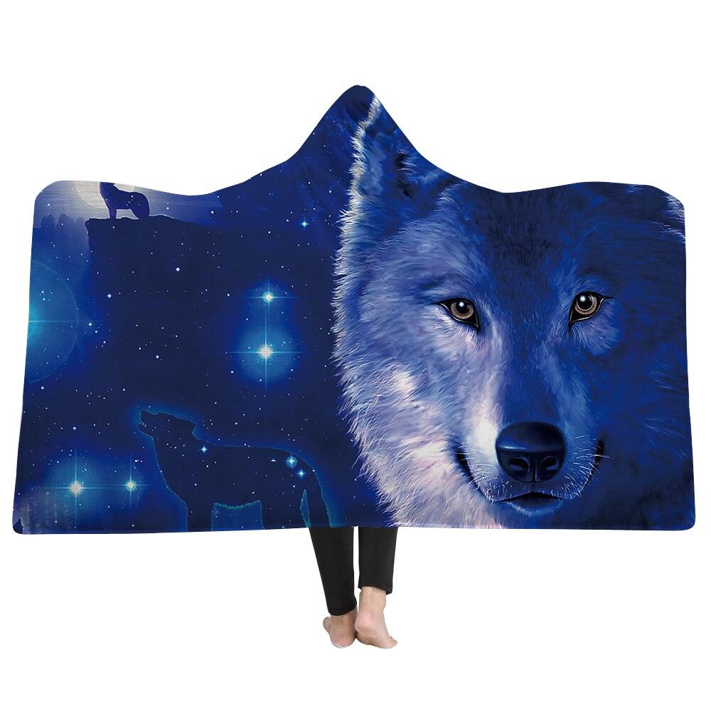 SOFTBATFY Wolf Hooded Blanket Fleece Throw Blanket Dropshipping