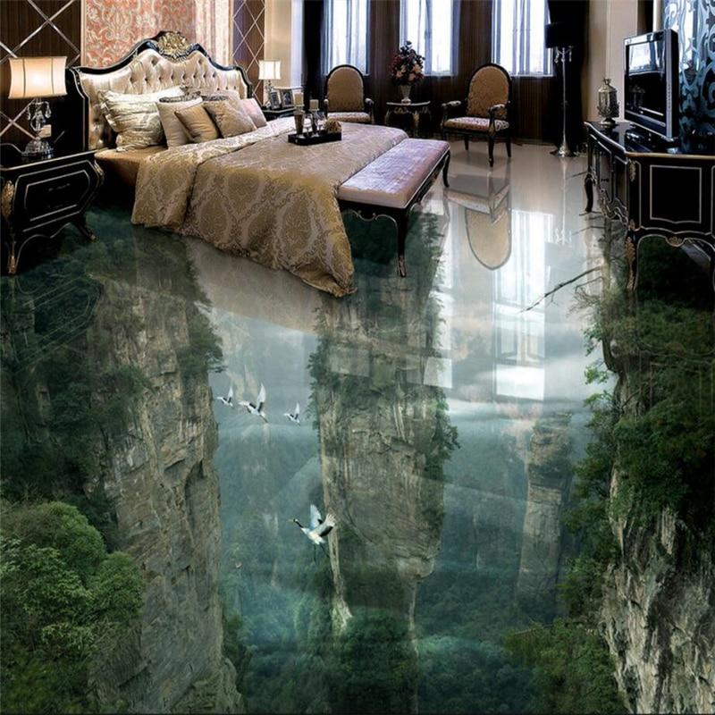 beibehang Custom flooring 3d human fairyland peak cliff living room bathroom decoration painting floor tiles фотообои