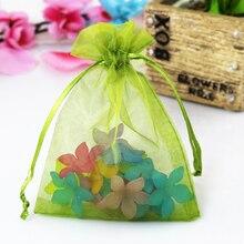 Venta al por mayor 200 piezas verde oliva de Organza bolsas de 13x18 cm joyería cosméticos regalos embalaje bolsa de Organza de regalo con cordón bolsa bolsas