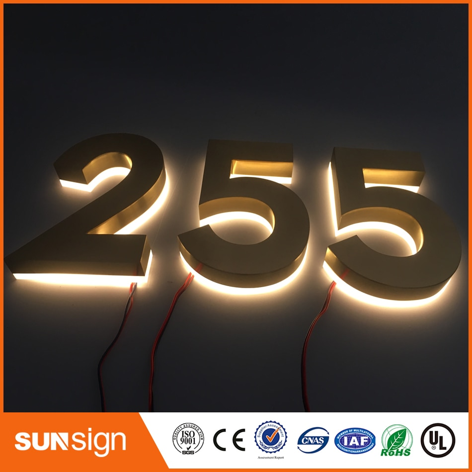 H 35cm Factory Outlet Outdoor backlit stainless steel LED 3D letter signage shopfront недорого